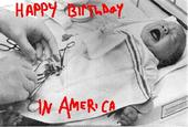 "A satire photo of a baby boy having its genitals altered in America - ""Happy Birtday in America"" writen in ""blood"" on the picture"